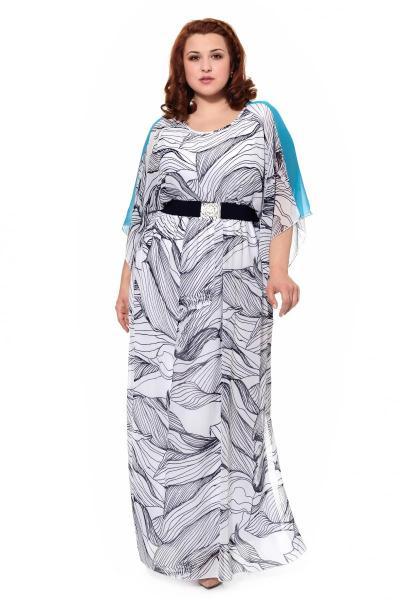 62a00b6dfdf Платье Белое с голубым 17328 - Купить платья больших размеров
