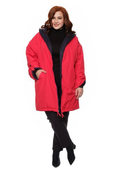 красная удлиненная куртка