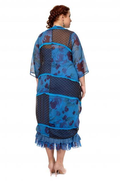 Артикул 300556 - платье с сорочкой большого размера - вид сзади
